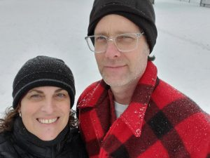 Laura and Doug in snow gear.