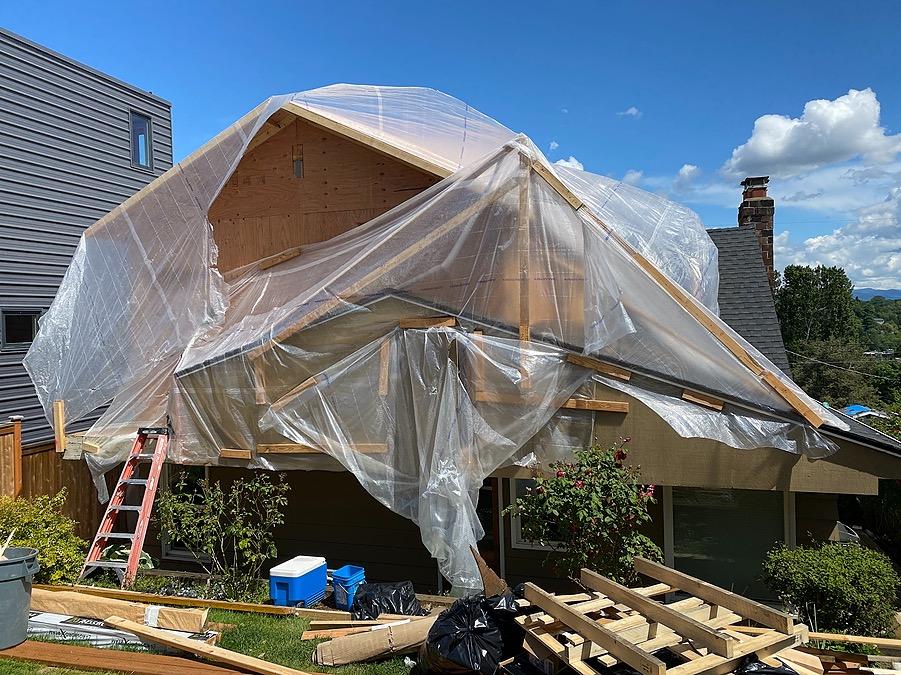 Backyard building under construction